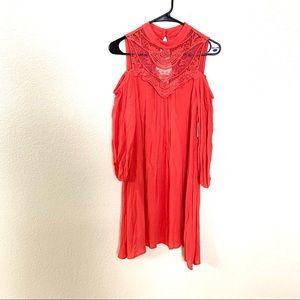 AUW Cold Shoulder Long Sleeve Boho Dress Pink S